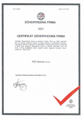 Certifikat doveryhodna firma 2021-1